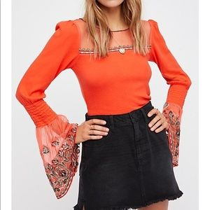 Free People High Tides Bell Sleeve Top XS
